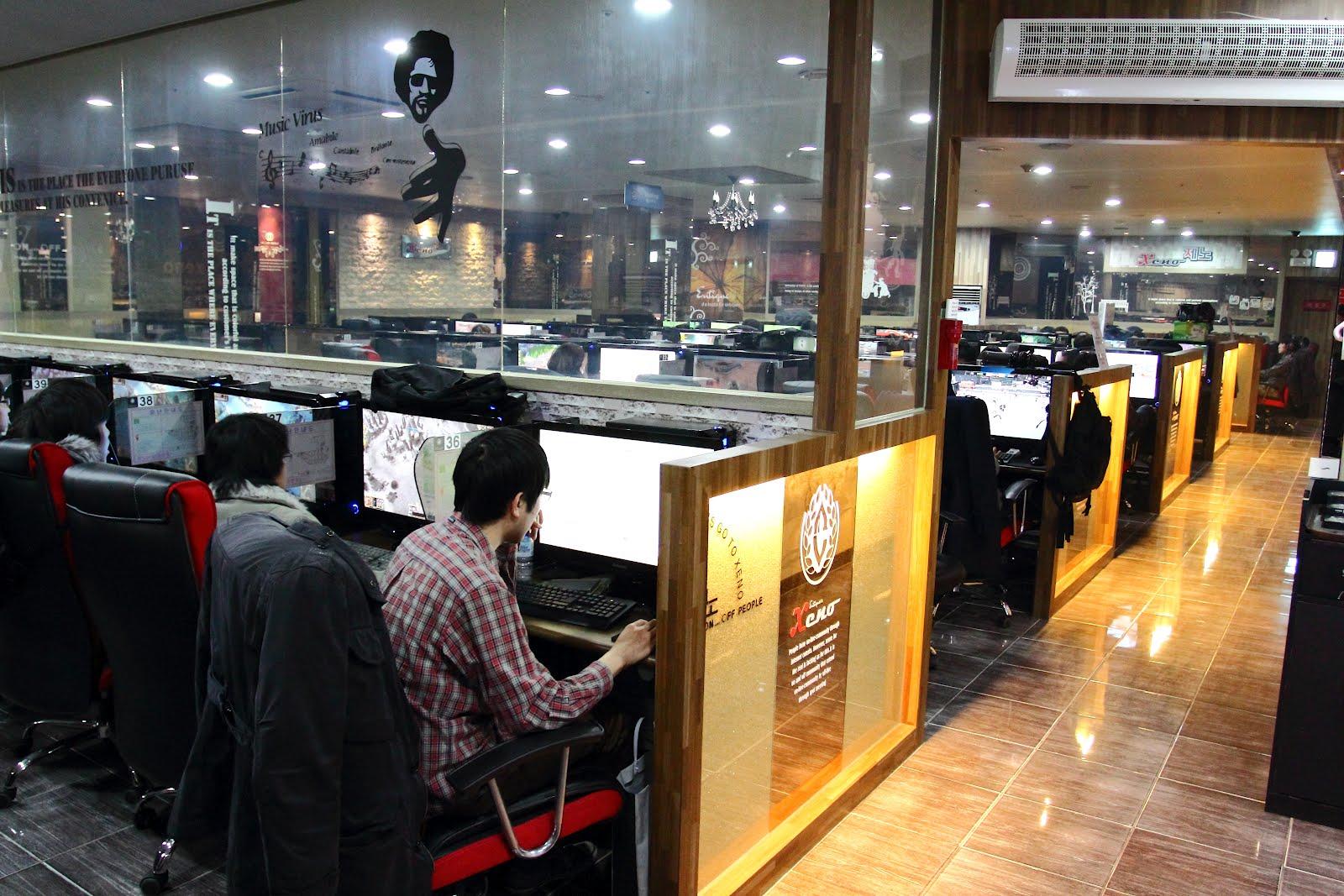 A modern cybercafé in South Korea, also known as a PC bang
