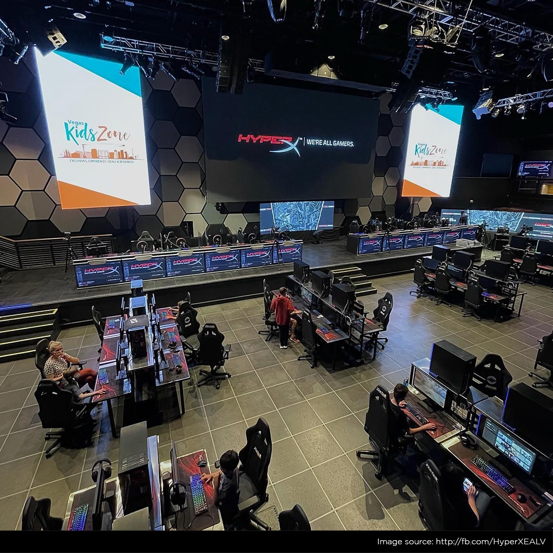 Casual gaming PCs plus the competitive stage at HyperX Esports Arena in Las Vegas, NV