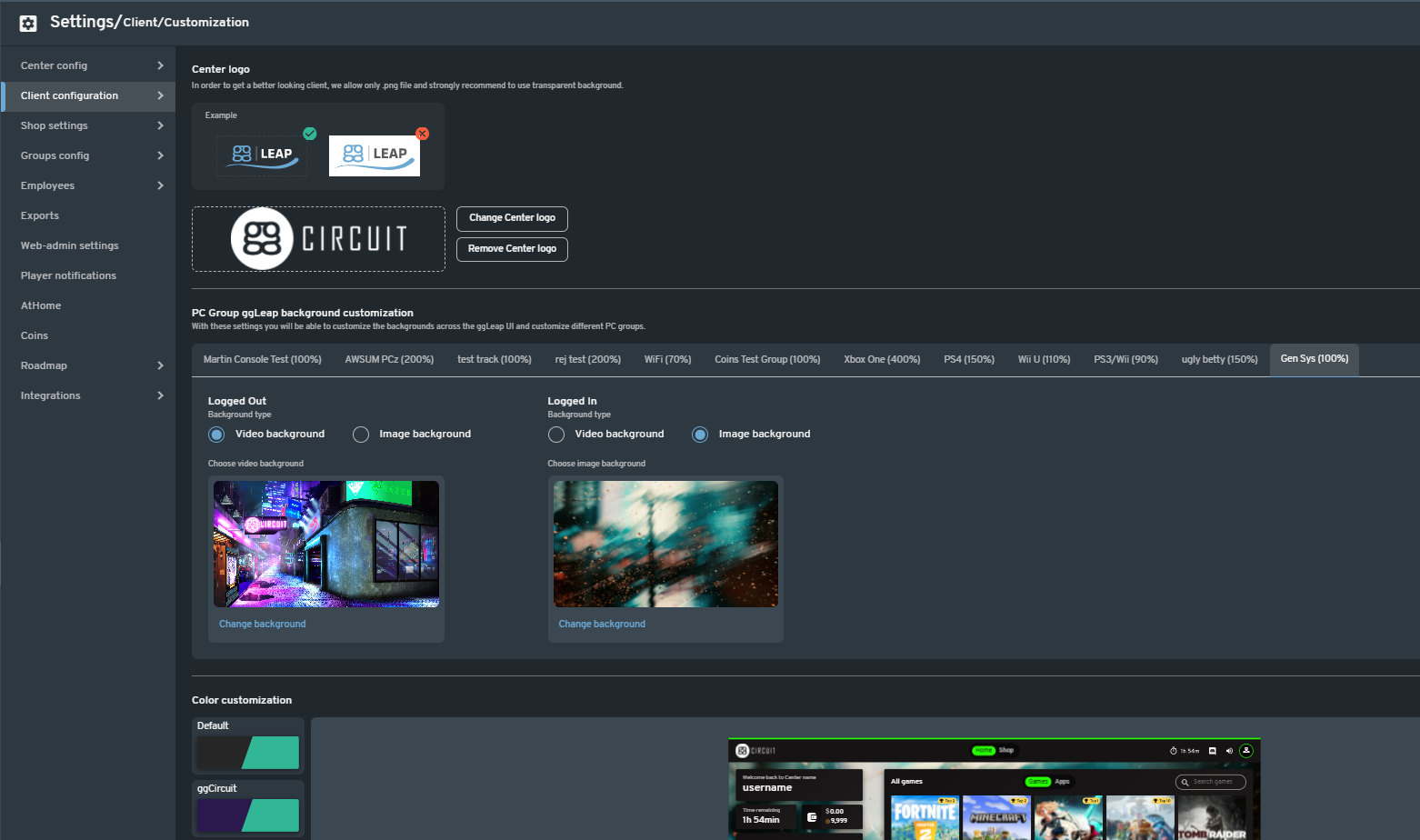 Insert your esports centers brand and theme in the ggLeap 2.0s user interface!