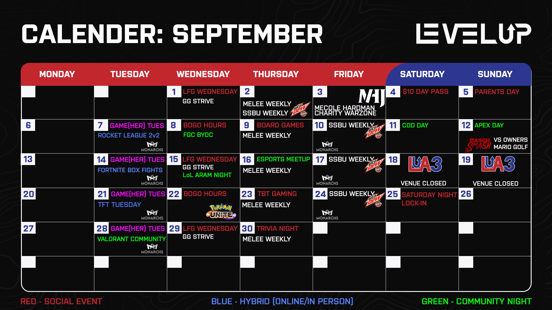 LEVELUP has a calendar full of esports events