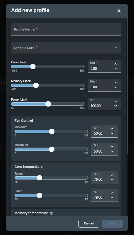 The GPU Profile setup modal is where the overclocking settings can be configured